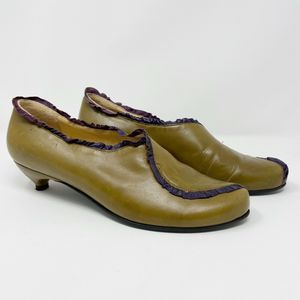 Giraudon Leather Pumps Green Purple Ruffle Sz 40